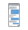 mobile chat smartphone screen messaging app vector image vector image