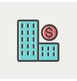 Money building thin line icon vector image vector image