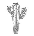 monochrome silhouette of cactus with two branches vector image vector image