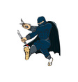 Ninja Masked Warrior Kicking Cartoon vector image