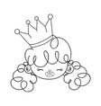 outline happy girl head with crown and hairstyle vector image