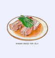 pork belly dish okinawan cuisine hand drawn vector image