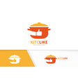 pot and like logo combination kitchen and vector image