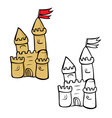 sandcastle coloring book vector image vector image