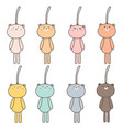 set of hand drawn cute bear keychain vector image