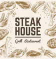 sketch meat background grill food menu vintage vector image vector image