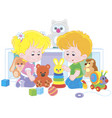 small children playing in a nursery vector image
