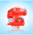 splash of tomato juice with glass and cube of ice vector image vector image
