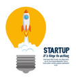 start up launcher bulb rocket vector image vector image
