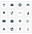 sun icons set collection of lifesaver sea star vector image vector image