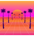 synthwave sun and palm trees vector image vector image