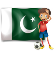 The Pakistan flag and the football player vector image