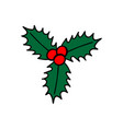 three holly leaves with red berries christmas vector image vector image