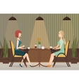 Two young women drinking coffee in the cafe vector image vector image