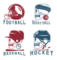 vintage sport labels set with skulls vector image