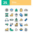winter filled outline icon set vector image