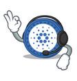 with headphone cardano coin character cartoon vector image