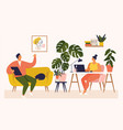 woman and man working at desk and on sofa from vector image