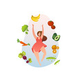 woman with healthy food vegetables and fruits vector image
