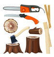 wood industry forestry branch and trunks luber vector image