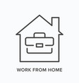 work from home remote job line icon house vector image