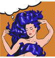 young woman with long hair pop art comic vector image vector image