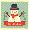 Christmas snowman background vector image
