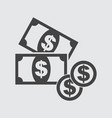 money flat icon coin icon vector image