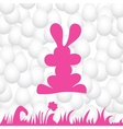 Abstract eggs background with pink rabbit vector image