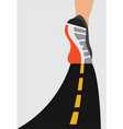 athlete runner feet running on road closeup on vector image