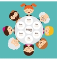 big family around passover plate pesah in hebrew vector image vector image