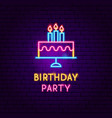 birthday party neon label vector image vector image