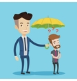 Businessman holding umbrella over young man vector image vector image