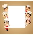 Chefs Presenting Empty Vertical Banner vector image vector image