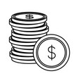 coins money cash stacked on white background vector image vector image
