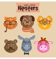 Collection of hipster cartoon character animals vector image vector image