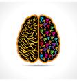 Conceptual idea -Brain with rupee symbol vector image vector image