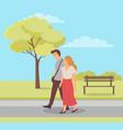 couple outdoors spring season walk people vector image vector image