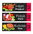 coupons on sale for fresh meat made in flat style vector image vector image