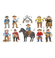 cowboy western cow boy on wildly horse vector image