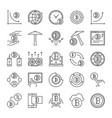 cryptocurrency and blockchain outline icons vector image