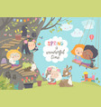 cute cartoon children with animals in spring vector image vector image