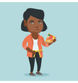fat african woman with pizza measuring waistline vector image vector image