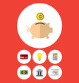 flat icon incoming set of greenback money box vector image vector image