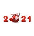 funny bull isolated on a white background 2021 vector image vector image