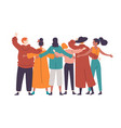 group diverse happy people standing together vector image vector image