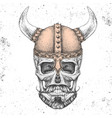 hand drawing hipster skull with viking helmet vector image vector image