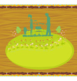 Happy family with barbecue - abstract card vector image vector image