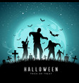 happy halloween zombies and bat on full moon vector image