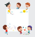 kids painting on white banner vector image vector image